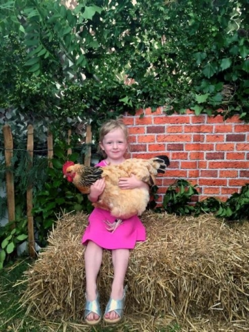 GRACE IN THE ORCHARD SHOWING AN AFFINITY WITH POULTRY !